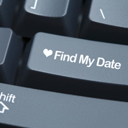 "keyboard return button labeled ""find my date"""